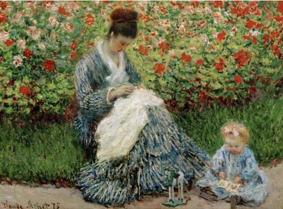 Claude Monet, Camille Monet et un enfant au jardin (1875)